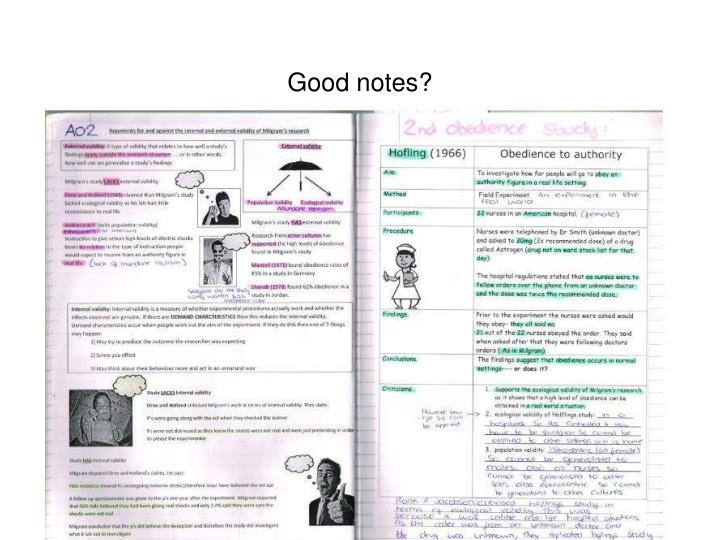 Good notes?