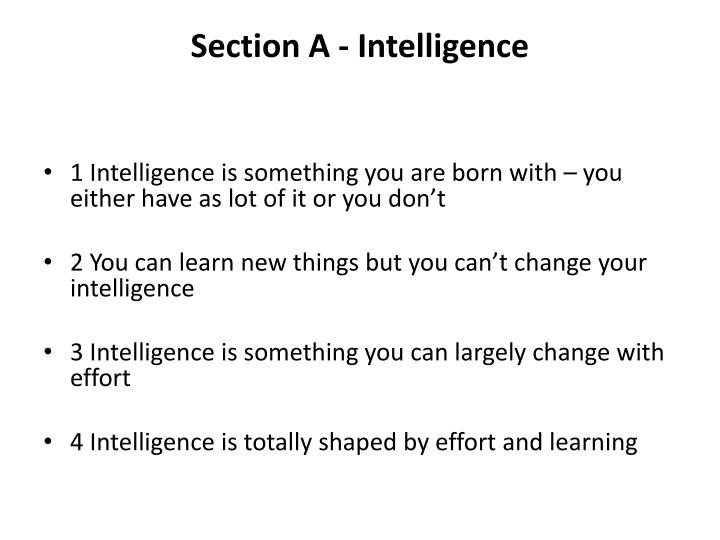 Section A - Intelligence