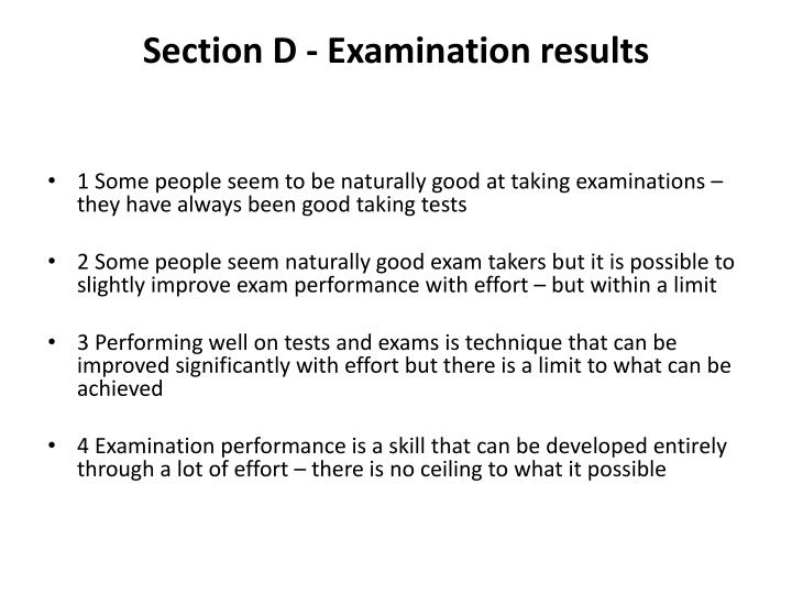 Section D - Examination results