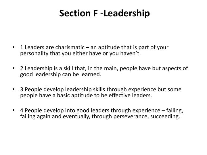 Section F -Leadership