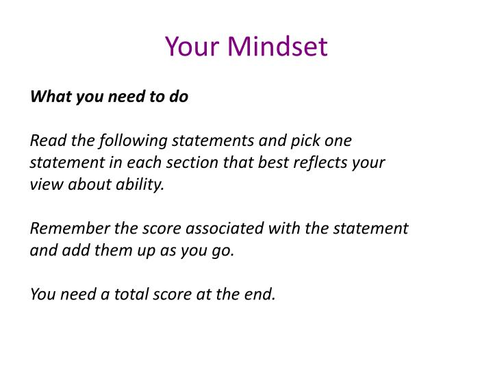 Your Mindset