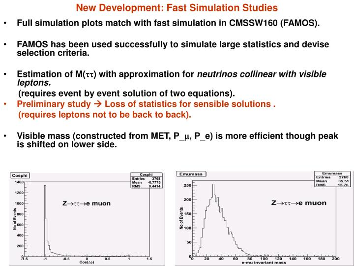 New Development: Fast Simulation Studies