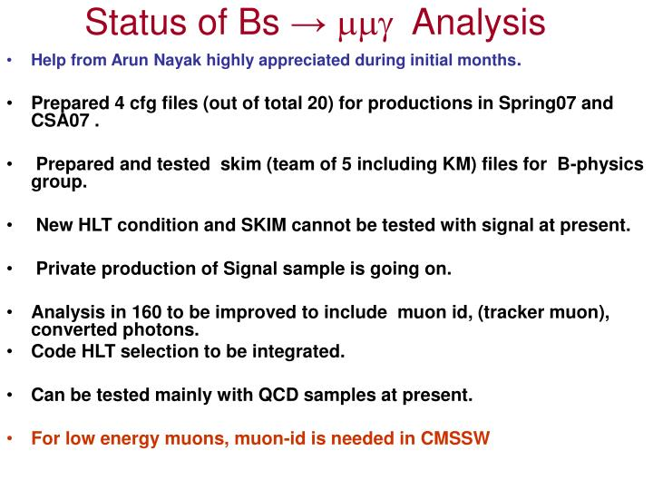 Status of Bs