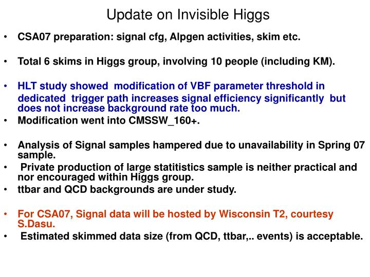 Update on Invisible Higgs