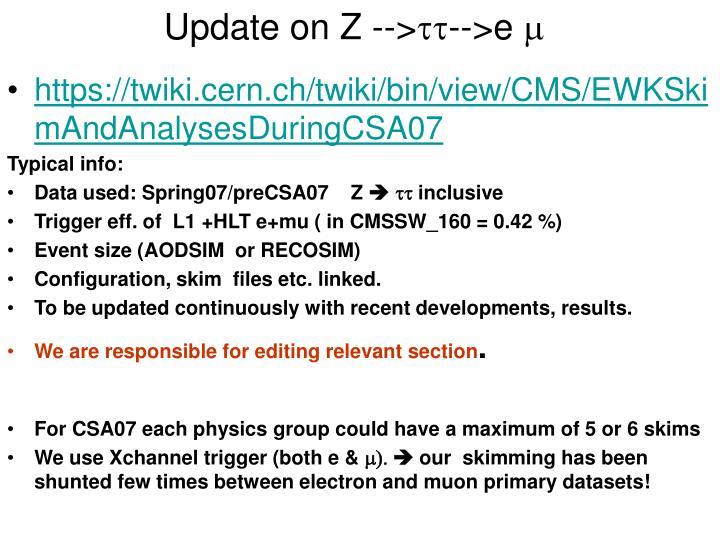 Update on Z -->