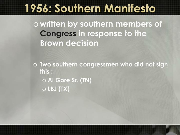 1956: Southern Manifesto