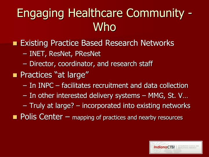 Engaging Healthcare Community - Who