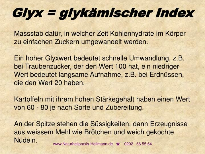 Glyx = glykämischer Index