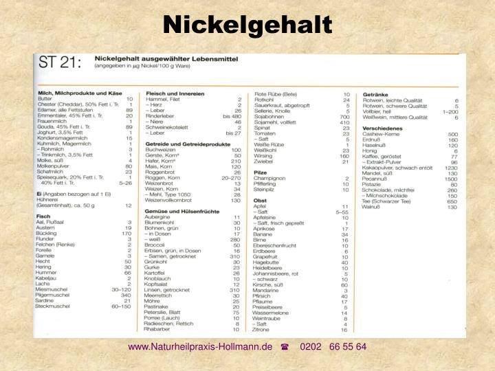 Nickelgehalt