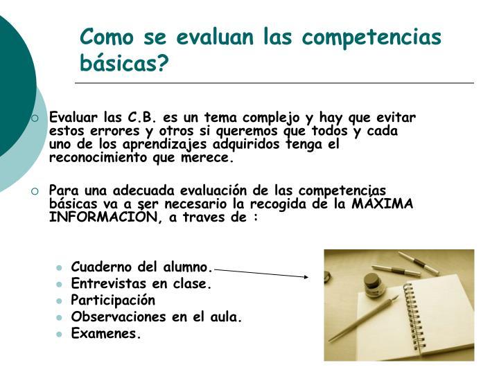 Como se evaluan las competencias básicas?