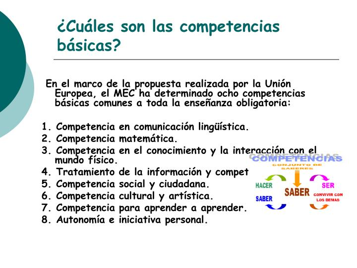 ¿Cuáles son las competencias básicas?