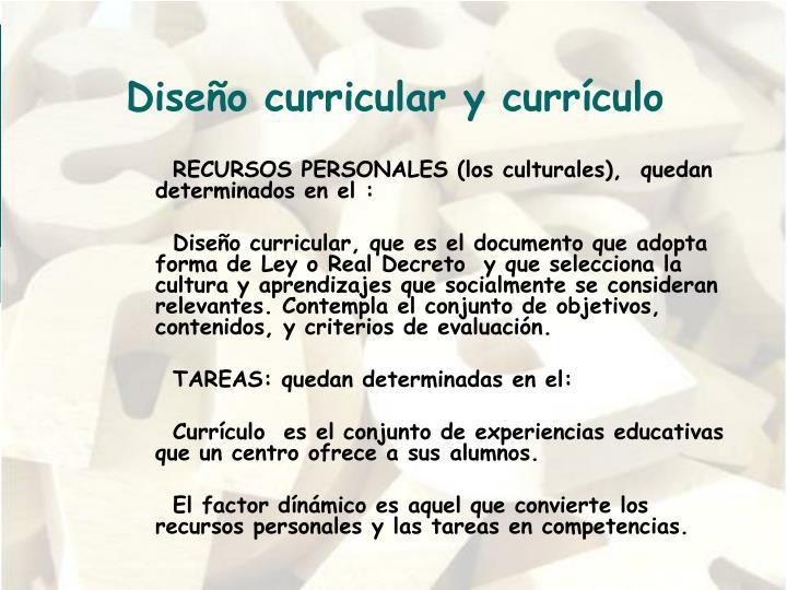 Diseño curricular y currículo
