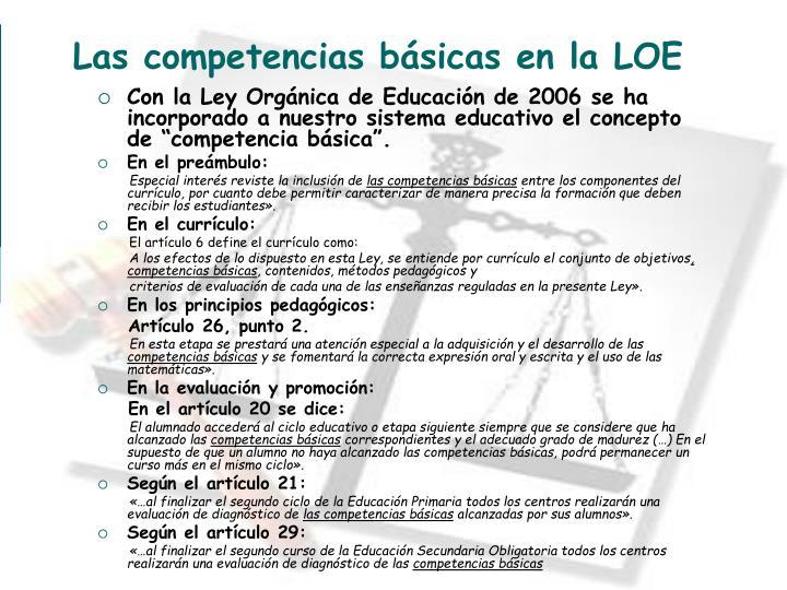 Las competencias básicas en la LOE