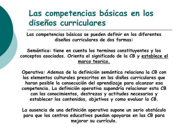 Las competencias básicas en los diseños curriculares