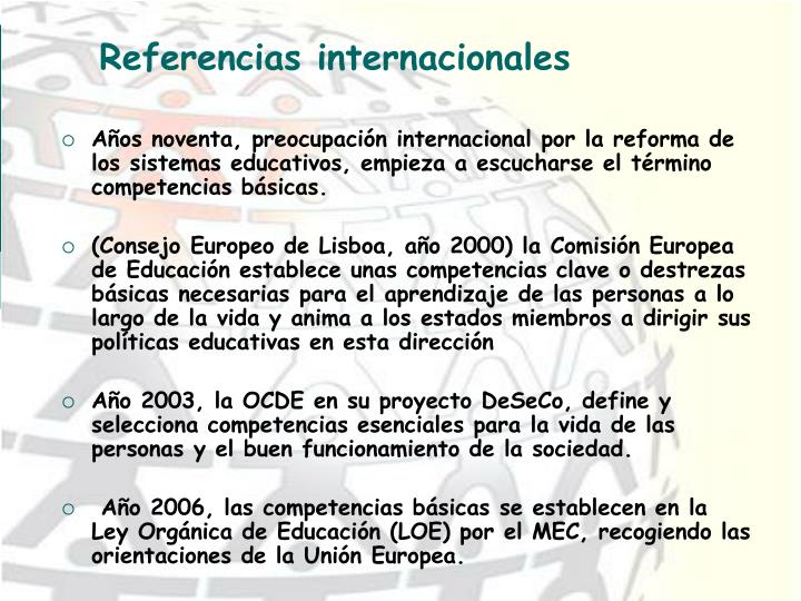 Referencias internacionales