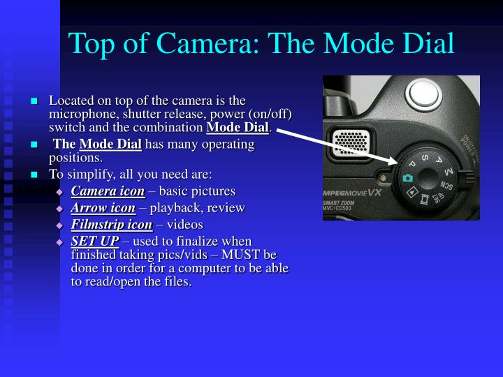 Located on top of the camera is the microphone, shutter release, power (on/off) switch and the combination