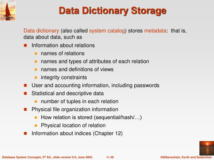 Data Dictionary Storage