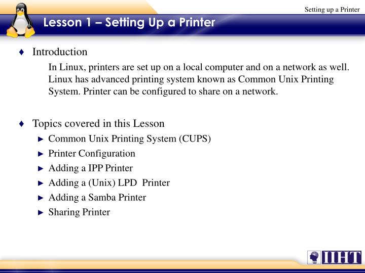 Lesson 1 setting up a printer