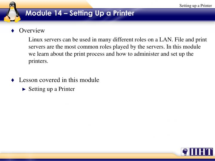 Module 14 setting up a printer