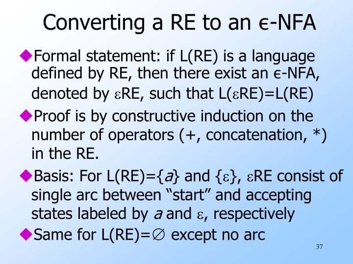 Converting a RE to an