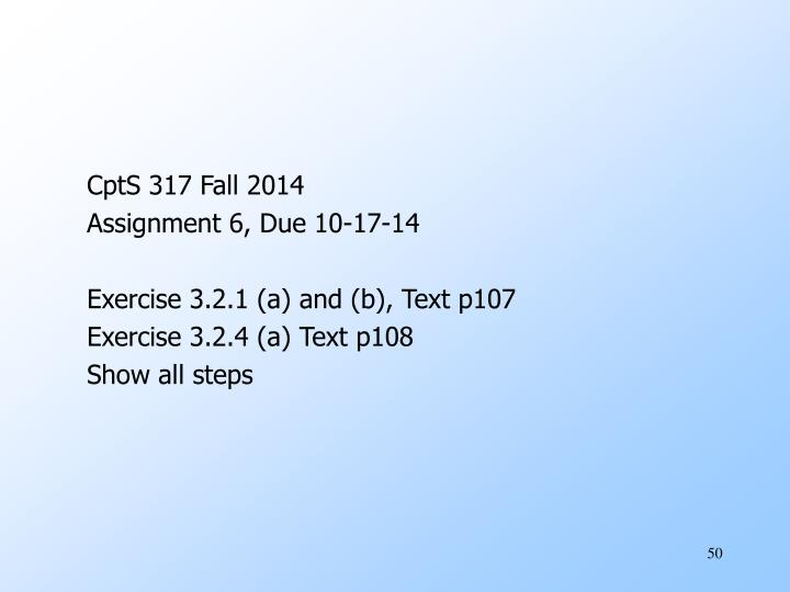 CptS 317 Fall 2014