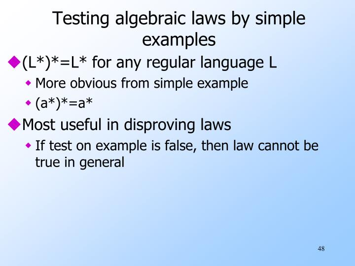 Testing algebraic laws by simple examples