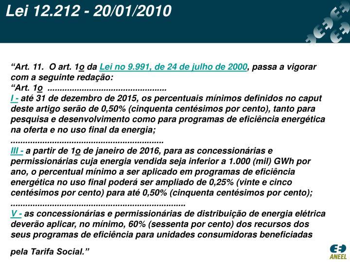 Lei 12.212 - 20/01/2010