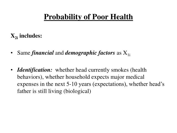 Probability of Poor Health