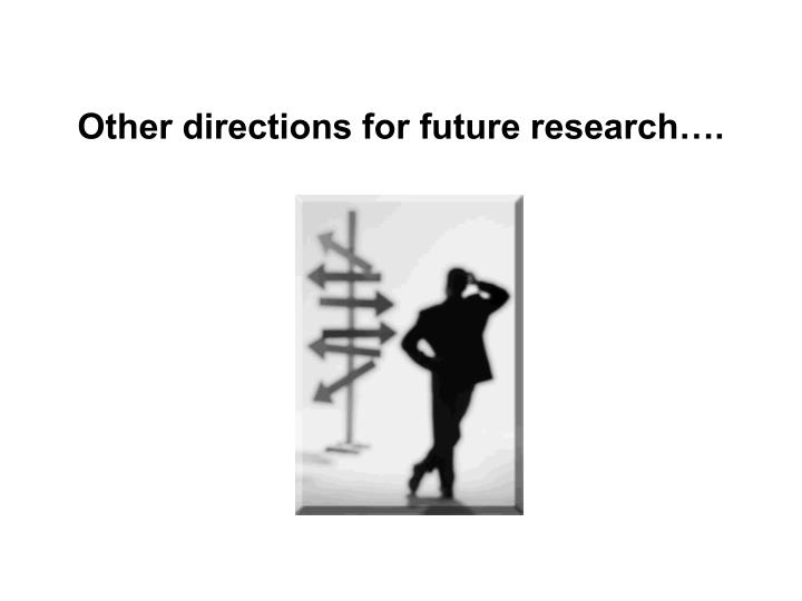 Other directions for future research….