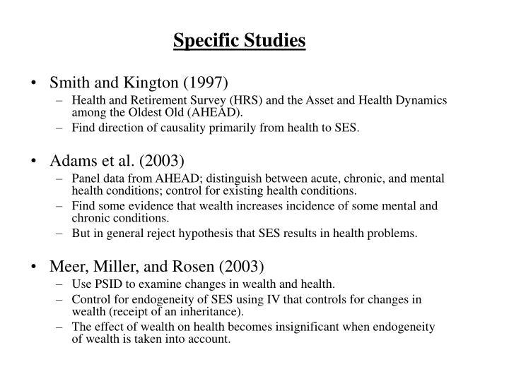 Specific Studies