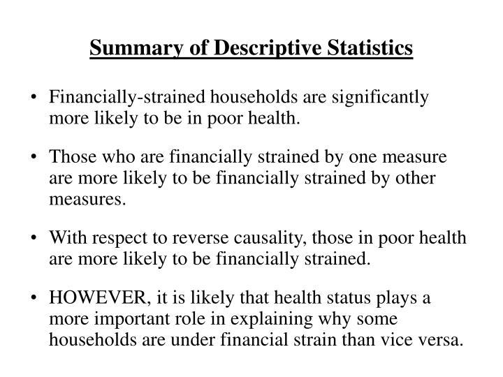 Summary of Descriptive Statistics