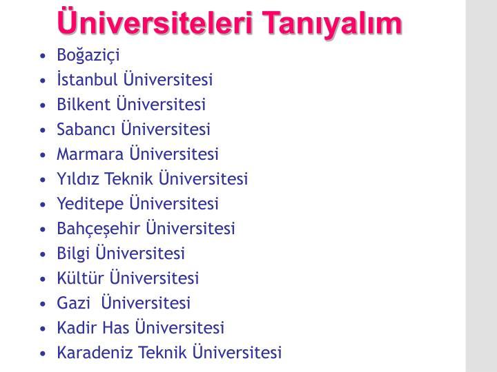 Üniversiteleri Tanıyalım
