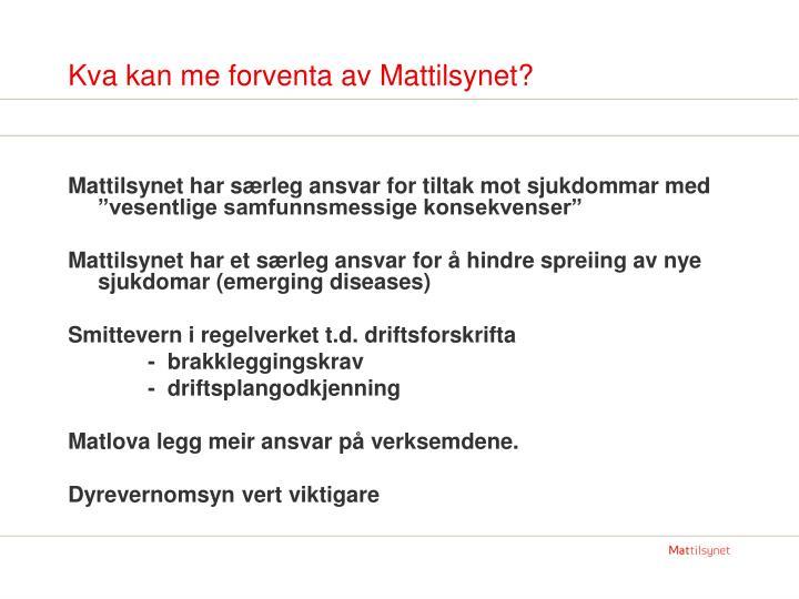 Kva kan me forventa av Mattilsynet?
