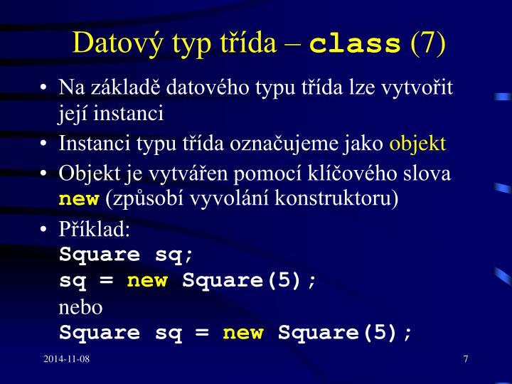 Datový typ třída –
