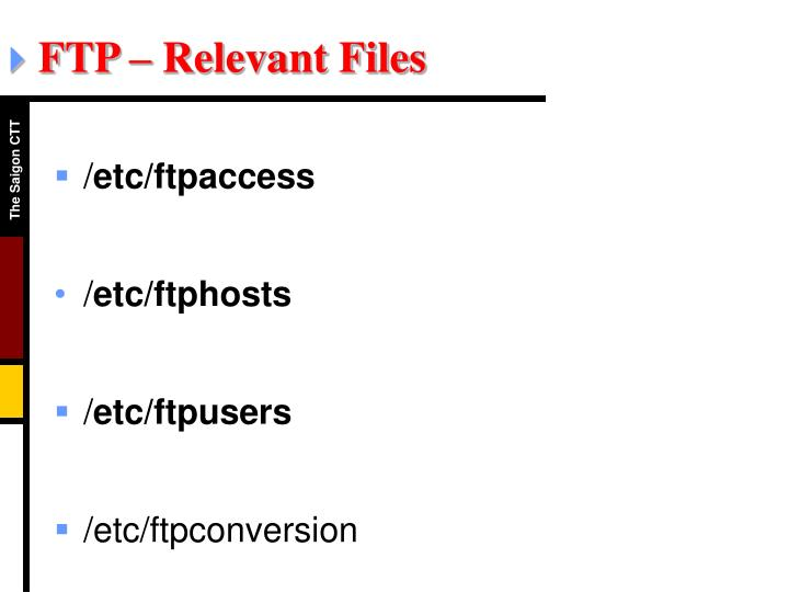 FTP – Relevant Files