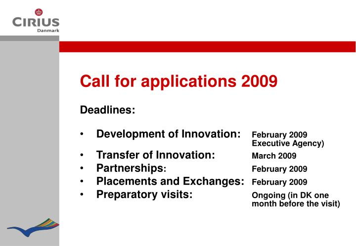 Call for applications 2009