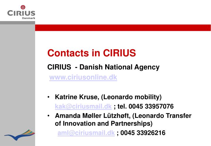 Contacts in CIRIUS