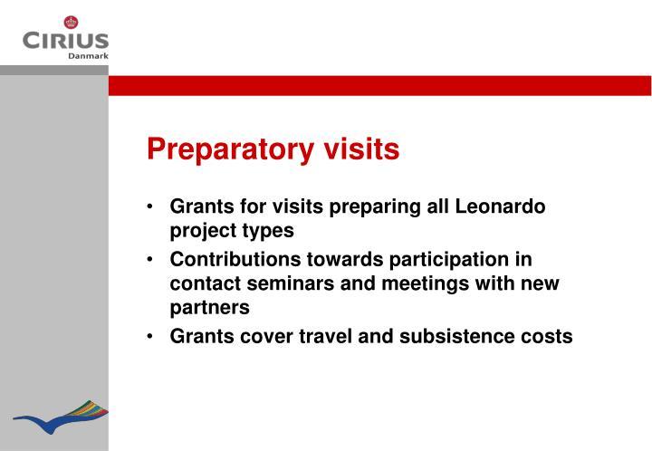 Preparatory visits