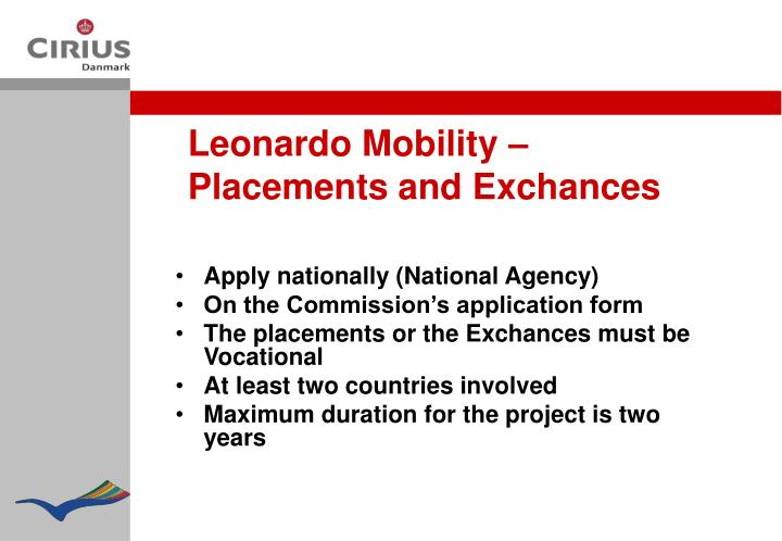 Leonardo Mobility – Placements and Exchances