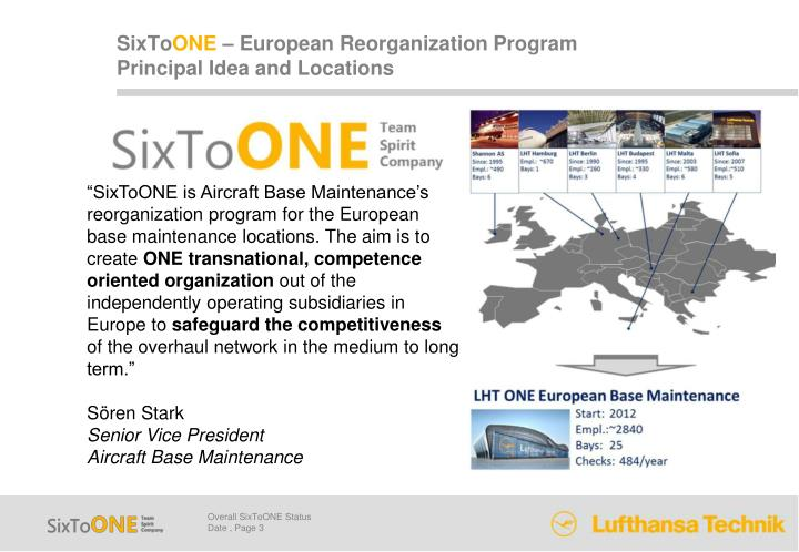 Sixto one european reorganization program principal idea and locations