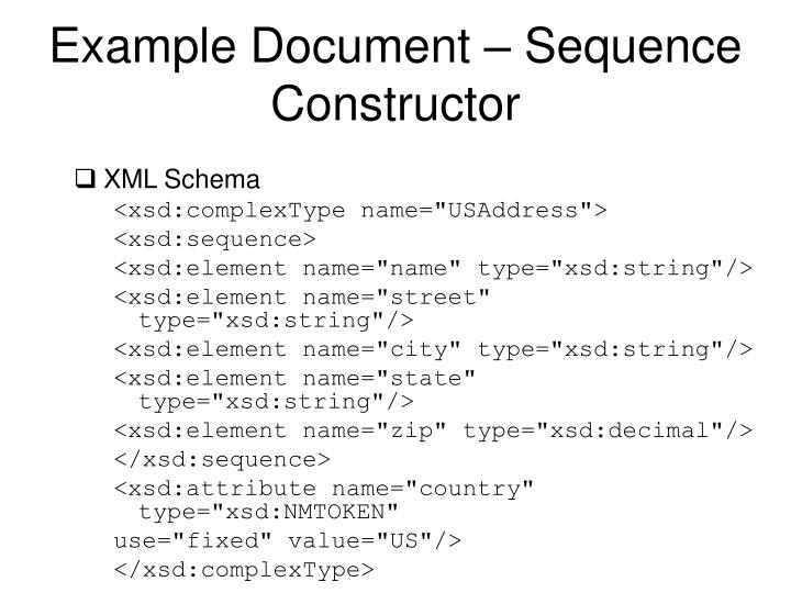 Example Document – Sequence Constructor