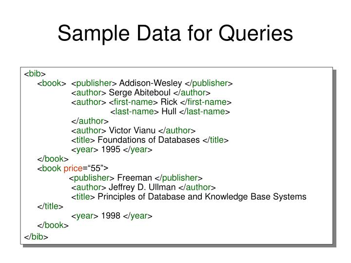 Sample Data for Queries