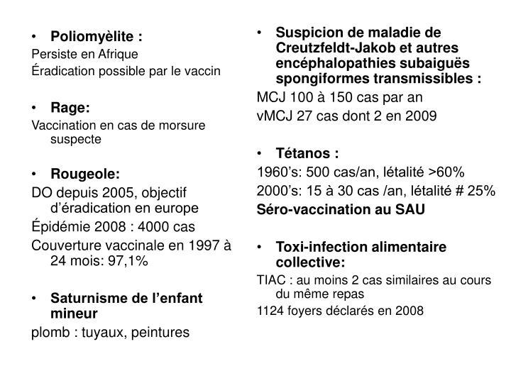 Poliomyèlite :