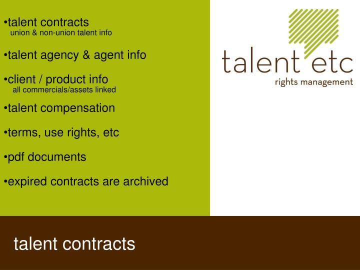 talent contracts