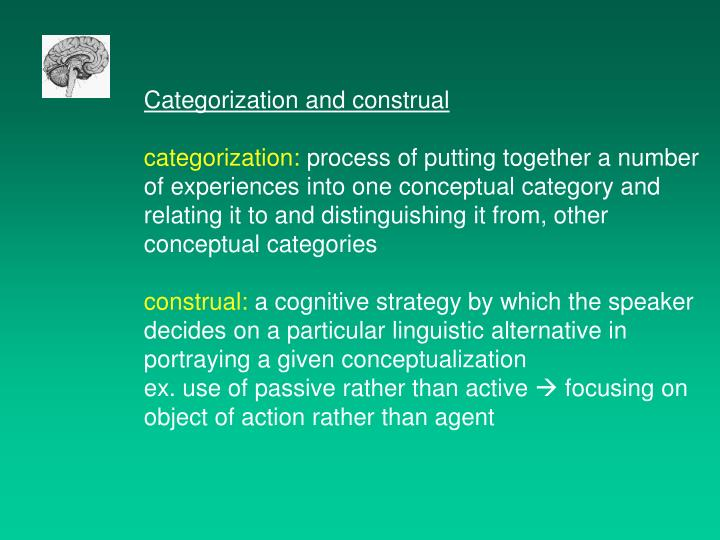 Categorization and construal