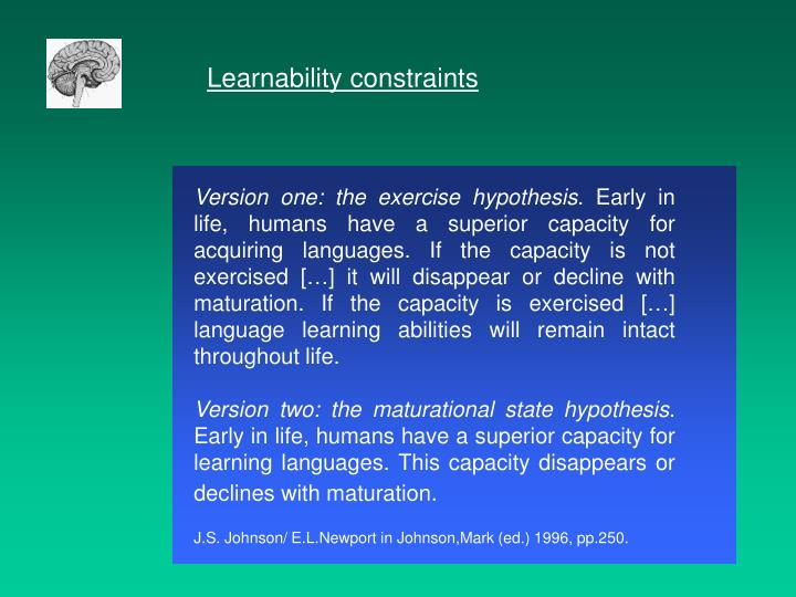 Learnability constraints