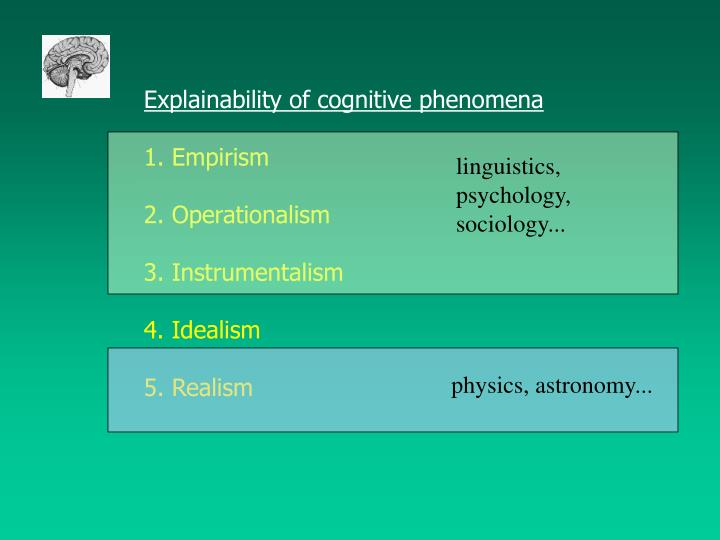 Explainability of cognitive phenomena