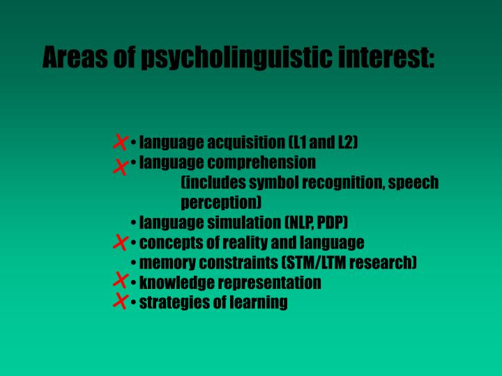 Areas of psycholinguistic interest: