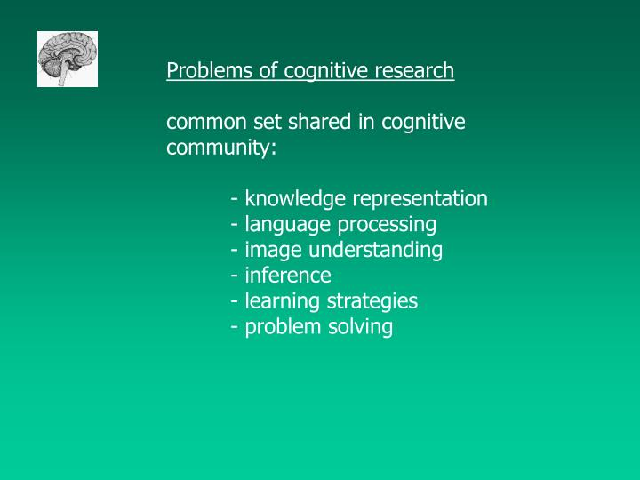 Problems of cognitive research