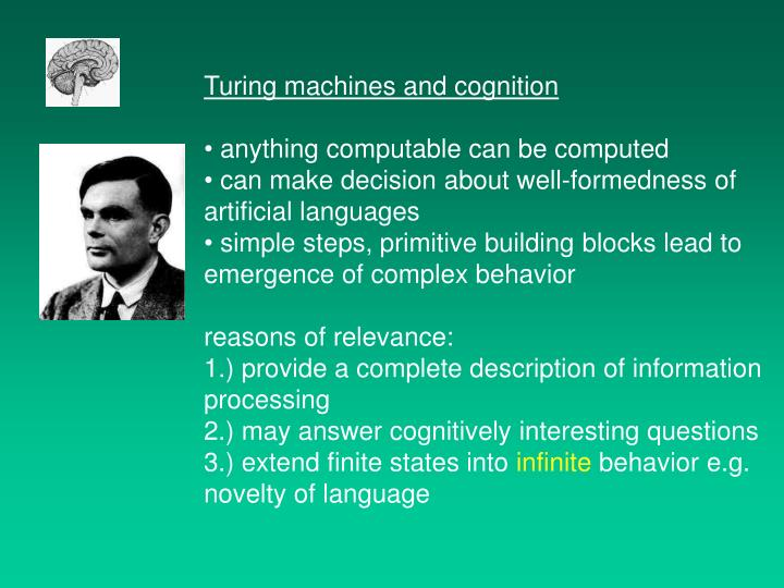 Turing machines and cognition